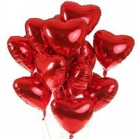 15 фольгированных сердец Состав: сердца красные фольгированные, наполненные гелием- 15 шт