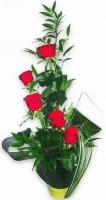 Принцесса  Состав композиции: роза красная- 5 шт, аспидистра, флористическая зелень. Цветовую гамму и состав композиции можно изменить по Вашему усмотрению.