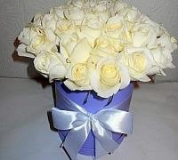 29 белых роз в коробке