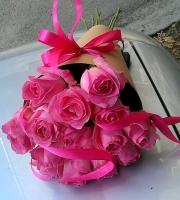 Букет 15 розовых роз Состав: роза розовая- 15 шт конус флористический