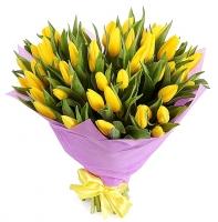 Букет 45 желтых тюльпанов