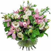 Богиня Состав букета: орхидея- 1 ветка, эустома- 10 шт, зелень. Экзотический букет для настоящего ценителя чего- то прекрасного, необычного и оригинального.