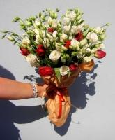 Малибу Состав букета: эустома белая- 10 шт, тюльпан красный- 10 шт. Оформление: флизелин флористический.