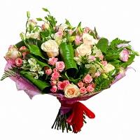 Монако Состав букет: роза- 10 шт, роза кустовая - 10 веток, эустома розовая - 10 веток, альстромерия- 9 веток, аспидистра.