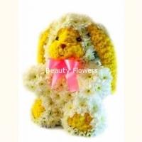 Зайчик Состав: хризантема- 50 веток, флористический декор. Размер: 40 см.