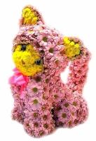 Котенок Состав: хризантема- 45 веток, хризантема (Сталлион желтый)- 10 шт, флористический декор. Размер: 40 см.