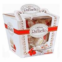 Конфеты Raffaello Конфеты Raffaello- это необычайно нежные и вкусные конфеты, состоящие из 2х вафельных половинок, внутри которых находится кокосовый крем и миндальный орешек. Снаружи конфета окутана кокосовыми хлопьями, что делает ее более оригинальной и привлекательной. Кажется, будто эти чудесные конфеты воплотили в себе всю нежность, невероятную легкость и трогательность самого прекрасного, что существует в мире. Они всегда послужат изысканным подарком для тех, кто любит нежные и легкие лакомства. С помощью этих конфет Вы обязательно завоюете женское сердце! ;) Вес: 150 гр.
