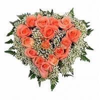 Минуты счастья Состав: роза коралловая- 15 шт, гипсофила, зелень.  По Вашему усмотрению, цветовая гамма, а также цветочный состав композиции может изменяться.
