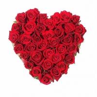 Символ любви Состав:роза красная- 35 шт. По Вашему усмотрению, цветовая гамма, а также цветочный состав композиции может изменяться.