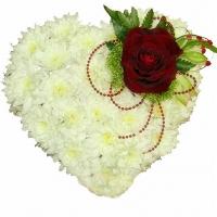 Белоснежное сердце Состав:хризантема белая- 15 шт, роза- 1 шт. Размер: 30- 35 см. По Вашему усмотрению, цветовая гамма, а также цветочный состав композиции может изменяться.