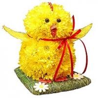 Цыпленок Состав: хризантема- 15 шт, флористический декор. Размер: 30 см.