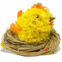 Маленький цыпленок Состав: хризантема- 15 шт, оазис. Размер: 30 см.