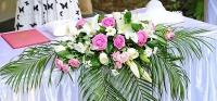 Композиция 1 Состав: роза розовая- 17 шт, белая- 5 шт, лилия- 1 шт, хризантема- 5 шт, зелень.