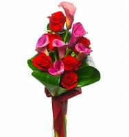 Приятная встреча Состав букета: роза- 8 шт, калла- 5 шт, зелень. Элегантно и так романтично... Ваза в стоимость не входит. Ее Вы можете приобрести отдельно.