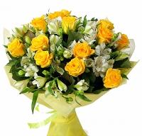 Огненный взгляд Состав букета: роза- 15 шт, альстромерия- 10 шт.