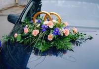 Композиция 18 Состав: роза- 10 шт, ирис- 9 шт, хризантема- ветка, гипсофила, зелень. Кольца входят в стоимость.