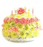С Днем рождения Состав композиции:гвоздика- 15 шт, роза- 1 шт, хризантема- 15 шт, свечи. Размер:30 см. Цветовую гамму и состав композиции можно изменить по Вашему усмотрению. Приятный сюрприз к Дню рождения.