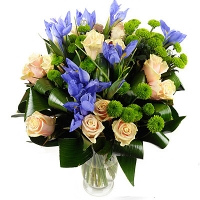 Легкое прикосновение Состав букета: роза- 11 шт, ирис- 10 шт, хризантема- 5 веток, зелень.