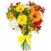 Праздничные цветы Состав букета: хризантема- 3 ветки, гербера- 3 шт, альстромерия- 7 шт.