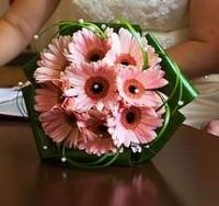 Букет невесты № 341 Состав букета: гербера- 9 шт, зелень. Бутоньерка для жениха в подарок!