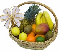 Вкус экзотики Состав: ананас- 1 шт, манго- 1 шт, банан- 1 кг, киви- 3 шт, лимон- 2 шт, лайм- 1 шт, мандарины- 0.5 кг, апельсин- 1 кг, корзина.