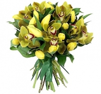 Чудесный вечер Состав букета: орхидея Цимбидиум, тюльпан желтый- 19 шт, зелень.