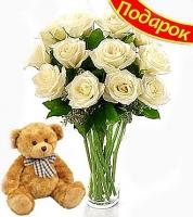 Мишка с розами АКЦИЯ! К букету из 11 роз мягкий мишка в подарок! Длина роз: 60-70 см. Размер игрушки: 30 см. Розы Вы можете выбрать любого цвета. Идеальный подарок к любому торжеству. Акция действительна только в Киеве и области!