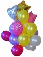 Композиция из шаров Состав: 9 шариков разноцветных, 3 шарика с надписью, сердце фольгированное, 2 звезды фольгированные.
