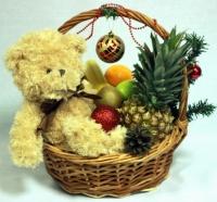Мишка в Новогодней корзине