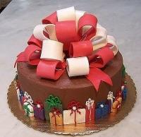 Торт Новогодний подарок Вес торта: 3 кг Заказывать торт необходимо за 3- 4 дня до момента доставки! Доставка торта возможна только по Киеву и области. Выберите начинку для торта: ФруктовыйНежный ванильный бисквит, пропитанный сахарным сиропом. Крем из натуральных, взбитых сливок с кусочками фруктов (персик, киви, ананас, груша, вишня, ягоды по сезону). Шоколадно-вишневыйШоколадный бисквит, пропитанный вишневым сиропом (по желанию с коньяком), взбитые сливки с вишней и кусочками шоколада. СметанникШоколадный и ванильный бисквит, сметанный крем (по желанию с добавлением орехов и кусочками шоколада). ЛакомкаТрадиционный белый бисквит, пропитанные карамельным сиропом, нежный крем из взбитых сливок с добавлением сгущенки-ириски с вишней. Птичье молоко Нежный бисквит(ванильный или шоколадный, на выбор), пропитанный ванильным сиропом. Крем— суфле птичье молоко скусочками белого ичерного шоколада. Золотой ключик Ореховый бисквит, пропитанный кофейным сиропом, крем на основе вареной сгущенки с жаренными грецкими орехами. ТрюфельныйШоколадный бисквит с кусочками шоколада, ромовая пропитка, шоколадно трюфельный крем с кусочками шоколада. Медовик Тонкие медовые коржи, сметанный крем, чернослив, курага игрецкий орех. (Можно без сухофруктов или на выбор).