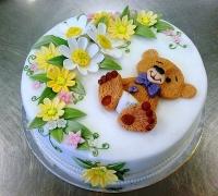 Торт Мишка в цветах