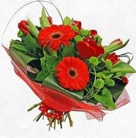 Ты в моем сердце Состав букета: гербера- 3 шт, тюльпан- 10 шт, хризантема- 5 шт декоративная зелень флористический декор Оформление: красная сетка Размер: 50 см
