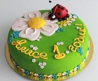 Торт Весёлая поляна Вес торта: 3 кг Заказывать торт необходимо за 3- 4 дня до момента доставки! Доставка торта возможна только по Киеву и области. Выберите начинку для торта: ФруктовыйНежный ванильный бисквит, пропитанный сахарным сиропом. Крем из натуральных, взбитых сливок с кусочками фруктов (персик, киви, ананас, груша, вишня, ягоды по сезону). Шоколадно-вишневыйШоколадный бисквит, пропитанный вишневым сиропом (по желанию с коньяком), взбитые сливки с вишней и кусочками шоколада. СметанникШоколадный и ванильный бисквит, сметанный крем (по желанию с добавлением орехов и кусочками шоколада). ЛакомкаТрадиционный белый бисквит, пропитанные карамельным сиропом, нежный крем из взбитых сливок с добавлением сгущенки-ириски с вишней. Птичье молоко Нежный бисквит(ванильный или шоколадный, на выбор), пропитанный ванильным сиропом. Крем— суфле птичье молоко скусочками белого ичерного шоколада. Золотой ключик Ореховый бисквит, пропитанный кофейным сиропом, крем на основе вареной сгущенки с жаренными грецкими орехами. ТрюфельныйШоколадный бисквит с кусочками шоколада, ромовая пропитка, шоколадно трюфельный крем с кусочками шоколада. Медовик Тонкие медовые коржи, сметанный крем, чернослив, курага игрецкий орех. (Можно без сухофруктов или на выбор).