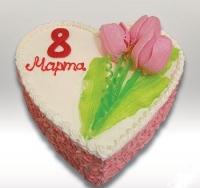 Торт Сердце 8 Марта Вес торта: 2.5 кг Заказывать торт необходимо за 3- 4 дня до момента доставки! Выберите начинку для торта: ФруктовыйНежный ванильный бисквит, пропитанный сахарным сиропом. Крем из натуральных, взбитых сливок с кусочками фруктов (персик, киви, ананас, груша, вишня, ягоды по сезону). Шоколадно-вишневыйШоколадный бисквит, пропитанный вишневым сиропом (по желанию с коньяком), взбитые сливки с вишней и кусочками шоколада. СметанникШоколадный и ванильный бисквит, сметанный крем (по желанию с добавлением орехов и кусочками шоколада). ЛакомкаТрадиционный белый бисквит, пропитанные карамельным сиропом, нежный крем из взбитых сливок с добавлением сгущенки-ириски с вишней. Птичье молоко Нежный бисквит(ванильный или шоколадный, на выбор), пропитанный ванильным сиропом. Крем— суфле птичье молоко скусочками белого ичерного шоколада. Золотой ключик Ореховый бисквит, пропитанный кофейным сиропом, крем на основе вареной сгущенки с жаренными грецкими орехами. ТрюфельныйШоколадный бисквит с кусочками шоколада, ромовая пропитка, шоколадно трюфельный крем с кусочками шоколада. Медовик Тонкие медовые коржи, сметанный крем, чернослив, курага и грецкий орех. (Можно без сухофруктов или на выбор)