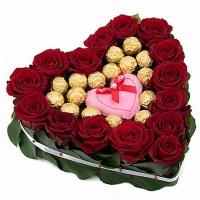 Яркий огонек Состав: роза красная- 15 шт конфеты Ferrero Rocher- 16 шт флористическое оформление Размер: 28 - 30 см