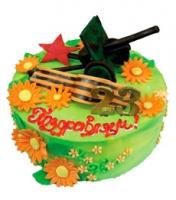 Торт Защитнику и победителю Вес торта: 3 кг Заказывать торт необходимо за 3- 4 дня до момента доставки! Выберите начинку для торта: ФруктовыйНежный ванильный бисквит, пропитанный сахарным сиропом. Крем из натуральных, взбитых сливок с кусочками фруктов (персик, киви, ананас, груша, вишня, ягоды по сезону). Шоколадно-вишневыйШоколадный бисквит, пропитанный вишневым сиропом (по желанию с коньяком), взбитые сливки с вишней и кусочками шоколада. СметанникШоколадный и ванильный бисквит, сметанный крем (по желанию с добавлением орехов и кусочками шоколада). ЛакомкаТрадиционный белый бисквит, пропитанные карамельным сиропом, нежный крем из взбитых сливок с добавлением сгущенки-ириски с вишней. Птичье молоко Нежный бисквит(ванильный или шоколадный, на выбор), пропитанный ванильным сиропом. Крем— суфле птичье молоко скусочками белого ичерного шоколада. Золотой ключик Ореховый бисквит, пропитанный кофейным сиропом, крем на основе вареной сгущенки с жаренными грецкими орехами. ТрюфельныйШоколадный бисквит с кусочками шоколада, ромовая пропитка, шоколадно трюфельный крем с кусочками шоколада. Медовик Тонкие медовые коржи, сметанный крем, чернослив, курага и грецкий орех. (Можно без сухофруктов или на выбор).