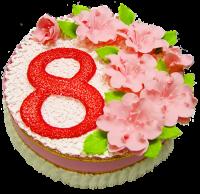 Торт День 8 Марта Вес торта: 3 кгЗаказывать торт необходимо за 3- 4 дня до момента доставки!Доставка торта возможна только по Киеву и области.Выберите начинку для торта:ФруктовыйНежный ванильный бисквит, пропитанный сахарным сиропом. Крем из натуральных, взбитых сливок с кусочками фруктов (персик, киви, ананас, груша, вишня, ягоды по сезону).Шоколадно-вишневыйШоколадный бисквит, пропитанный вишневым сиропом (по желанию с коньяком), взбитые сливки с вишней и кусочками шоколада.СметанникШоколадный и ванильный бисквит, сметанный крем (по желанию с добавлением орехов и кусочками шоколада).ЛакомкаТрадиционный белый бисквит, пропитанные карамельным сиропом, нежный крем из взбитых сливок с добавлением сгущенки-ириски с вишней.Птичье молокоНежный бисквит(ванильный или шоколадный, на выбор), пропитанный ванильным сиропом. Крем — суфле птичье молоко с кусочками белого и черного шоколада.       Золотой ключикОреховый бисквит, пропитанный кофейным сиропом, крем на основе вареной сгущенки с жаренными грецкими орехами.ТрюфельныйШоколадный бисквит с кусочками шоколада, ромовая пропитка, шоколадно трюфельный крем с кусочками шоколада.МедовикТонкие медовые коржи, сметанный крем, чернослив, курага и грецкий орех. (Можно без сухофруктов или на выбор).