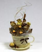 Чашка капучино Состав: конфеты Шатенка, Креамо, Трюфель, Ферреро- 8 шт Размер: 23 х 16 см