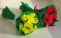 Букет корпоративный Весенний Минимальный заказ- 5 букетов! Состав: конфеты Нуга Рошен- 7 шт Ручной букет из конфет Размер: 30 см
