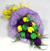 Нотки весны Состав: конфеты Ангаже Рошен- 15 шт флористический декор Размер: длина 40 см Ручной букет из конфет