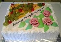 Торт Фруктовое чудо Вес торта: 3 кг Заказывать торт необходимо за 3- 4 дня до момента доставки! Доставка торта возможна только по Киеву и области. Выберите начинку для торта: ФруктовыйНежный ванильный бисквит, пропитанный сахарным сиропом. Крем из натуральных, взбитых сливок с кусочками фруктов (персик, киви, ананас, груша, вишня, ягоды по сезону). Шоколадно-вишневыйШоколадный бисквит, пропитанный вишневым сиропом (по желанию с коньяком), взбитые сливки с вишней и кусочками шоколада. СметанникШоколадный и ванильный бисквит, сметанный крем (по желанию с добавлением орехов и кусочками шоколада). ЛакомкаТрадиционный белый бисквит, пропитанные карамельным сиропом, нежный крем из взбитых сливок с добавлением сгущенки-ириски с вишней. Птичье молоко Нежный бисквит(ванильный или шоколадный, на выбор), пропитанный ванильным сиропом. Крем— суфле птичье молоко скусочками белого ичерного шоколада. Золотой ключик Ореховый бисквит, пропитанный кофейным сиропом, крем на основе вареной сгущенки с жаренными грецкими орехами. ТрюфельныйШоколадный бисквит с кусочками шоколада, ромовая пропитка, шоколадно трюфельный крем с кусочками шоколада. Медовик Тонкие медовые коржи, сметанный крем, чернослив, курага игрецкий орех. (Можно без сухофруктов или на выбор).