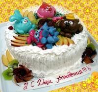 Торт Зверюшки Вес торта: 3 кг Заказывать торт необходимо за 3- 4 дня до момента доставки! Доставка торта возможна только по Киеву и области. Выберите начинку для торта: ФруктовыйНежный ванильный бисквит, пропитанный сахарным сиропом. Крем из натуральных, взбитых сливок с кусочками фруктов (персик, киви, ананас, груша, вишня, ягоды по сезону). Шоколадно-вишневыйШоколадный бисквит, пропитанный вишневым сиропом (по желанию с коньяком), взбитые сливки с вишней и кусочками шоколада. СметанникШоколадный и ванильный бисквит, сметанный крем (по желанию с добавлением орехов и кусочками шоколада). ЛакомкаТрадиционный белый бисквит, пропитанные карамельным сиропом, нежный крем из взбитых сливок с добавлением сгущенки-ириски с вишней. Птичье молоко Нежный бисквит(ванильный или шоколадный, на выбор), пропитанный ванильным сиропом. Крем— суфле птичье молоко скусочками белого ичерного шоколада. Золотой ключик Ореховый бисквит, пропитанный кофейным сиропом, крем на основе вареной сгущенки с жаренными грецкими орехами. ТрюфельныйШоколадный бисквит с кусочками шоколада, ромовая пропитка, шоколадно трюфельный крем с кусочками шоколада. Медовик Тонкие медовые коржи, сметанный крем, чернослив, курага игрецкий орех. (Можно без сухофруктов или на выбор).