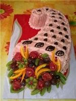 Торт Фрутти Вес торта: 3 кг Заказывать торт необходимо за 3- 4 дня до момента доставки! Доставка торта возможна только по Киеву и области. Выберите начинку для торта: ФруктовыйНежный ванильный бисквит, пропитанный сахарным сиропом. Крем из натуральных, взбитых сливок с кусочками фруктов (персик, киви, ананас, груша, вишня, ягоды по сезону). Шоколадно-вишневыйШоколадный бисквит, пропитанный вишневым сиропом (по желанию с коньяком), взбитые сливки с вишней и кусочками шоколада. СметанникШоколадный и ванильный бисквит, сметанный крем (по желанию с добавлением орехов и кусочками шоколада). ЛакомкаТрадиционный белый бисквит, пропитанные карамельным сиропом, нежный крем из взбитых сливок с добавлением сгущенки-ириски с вишней. Птичье молоко Нежный бисквит(ванильный или шоколадный, на выбор), пропитанный ванильным сиропом. Крем— суфле птичье молоко скусочками белого ичерного шоколада. Золотой ключик Ореховый бисквит, пропитанный кофейным сиропом, крем на основе вареной сгущенки с жаренными грецкими орехами. ТрюфельныйШоколадный бисквит с кусочками шоколада, ромовая пропитка, шоколадно трюфельный крем с кусочками шоколада. Медовик Тонкие медовые коржи, сметанный крем, чернослив, курага игрецкий орех. (Можно без сухофруктов или на выбор).