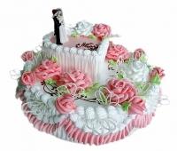 Торт Романтика Вес торта: 5 кг Заказывать торт необходимо за 3- 4 дня до момента доставки! Доставка торта возможна только по Киеву и области. Выберите начинку для торта: ФруктовыйНежный ванильный бисквит, пропитанный сахарным сиропом. Крем из натуральных, взбитых сливок с кусочками фруктов (персик, киви, ананас, груша, вишня, ягоды по сезону). Шоколадно-вишневыйШоколадный бисквит, пропитанный вишневым сиропом (по желанию с коньяком), взбитые сливки с вишней и кусочками шоколада. СметанникШоколадный и ванильный бисквит, сметанный крем (по желанию с добавлением орехов и кусочками шоколада). ЛакомкаТрадиционный белый бисквит, пропитанные карамельным сиропом, нежный крем из взбитых сливок с добавлением сгущенки-ириски с вишней. Птичье молоко Нежный бисквит(ванильный или шоколадный, на выбор), пропитанный ванильным сиропом. Крем— суфле птичье молоко скусочками белого ичерного шоколада. Золотой ключик Ореховый бисквит, пропитанный кофейным сиропом, крем на основе вареной сгущенки с жаренными грецкими орехами. ТрюфельныйШоколадный бисквит с кусочками шоколада, ромовая пропитка, шоколадно трюфельный крем с кусочками шоколада. Медовик Тонкие медовые коржи, сметанный крем, чернослив, курага игрецкий орех. (Можно без сухофруктов или на выбор).