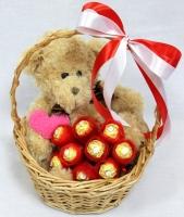 Подарок любимой Состав: мишка мягкий 30 см конфеты Ferrero Rocher- 9 шт корзинка Размер: 30 см Мишка может отличаться от представленного на фото
