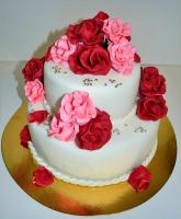 Торт Красные и розовые розы