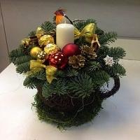 Новогодняя чашечка Состав: свеча, чашка конфеты Ferrero Rocher- 3 шт новогодний декор веточки ели
