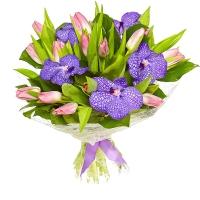 Букет Капелька весны Состав букета: тюльпан розовый- 19 шт орхидея Ванда- 5 шт Оформление: сезаль флористическая Размер: 50 см