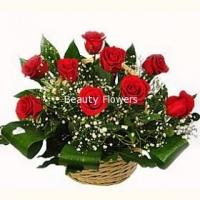 Гармония Состав корзины: роза- 11 шт, гипсофила, зелень, аспидистра. По Вашему усмотрению, цветовая гамма, а также цветочный состав корзины может  изменяться. Корзинка красных роз будет отличным подарком на Дне рождения, свадебной церемонии.