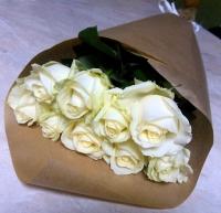 Розы для тебя Состав букета: роза белая - 9 шт Оформление: бумага Размер: 60 см